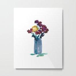 Small vase of chrysanthemums Metal Print