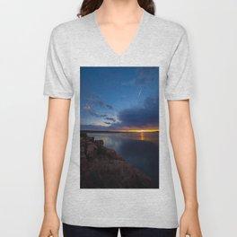 Bluewater Lake Sunset Unisex V-Neck