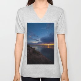 Bluewater Lake Sunset Unisex V-Neck