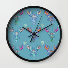 Boho Lobster Pattern Wall Clock