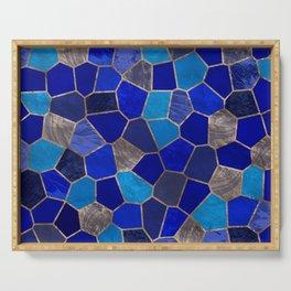 Mosaic Pattern - Golden Blues Serving Tray