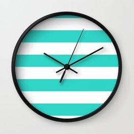 Horizontal Stripes - White and Turquoise Wall Clock