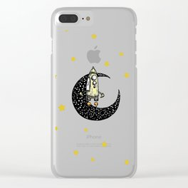 Spaceship Karen and moon Clear iPhone Case