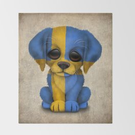 Cute Puppy Dog with flag of Sweden Throw Blanket