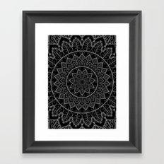 Black and White Lace Mandala Framed Art Print