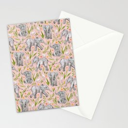 Baby Elephants and Egrets in watercolor - blush pink Stationery Cards
