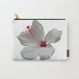 Pure White Hibiscus Tropical Flower Carry-All Pouch