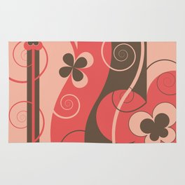Modern Retro Butterfly Floral Graphic Art Rug