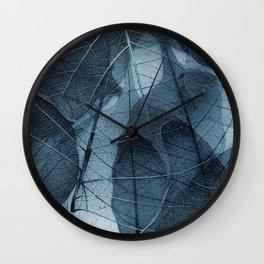 blue leaf III Wall Clock