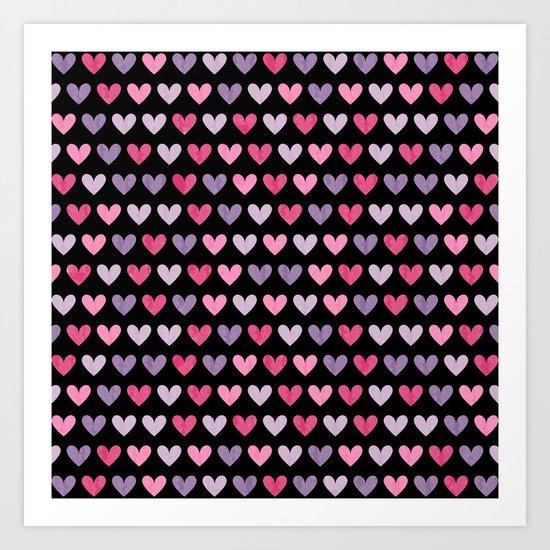 Colorful hearts VI Art Print