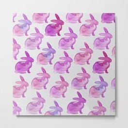 Watercolor Bunnies 1L by Kathy Morton Stanion Metal Print