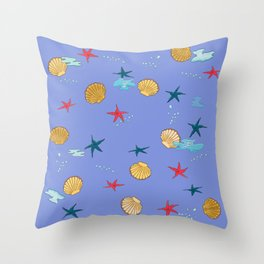 seashells and starfishes - violet Throw Pillow