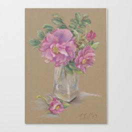Wilde Rose bouquet in the glass Pink Rose Flowers Still Life Colorful Pastel drawing Canvas Print