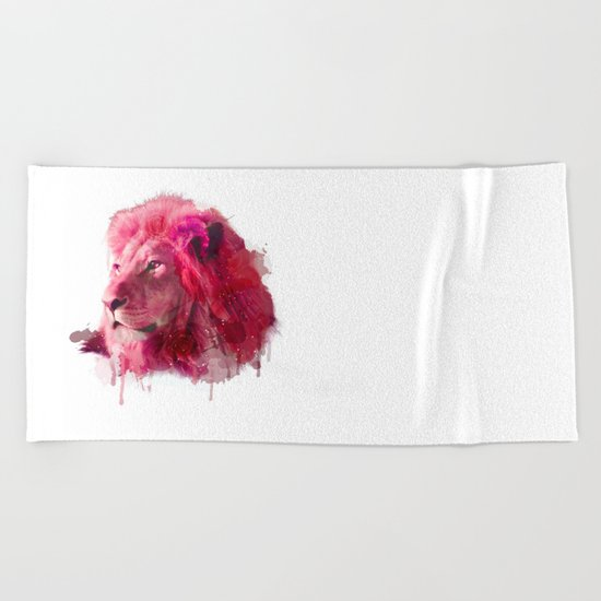 Rose Lion Beach Towel