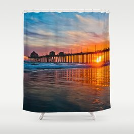 HB Sunsets - Sunset At The Huntington Beach Pier 3/10/16 Shower Curtain
