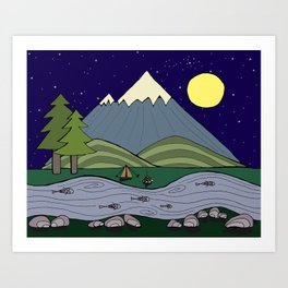 Camping in the Forest at Night  Art Print