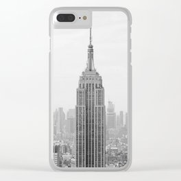 Black and White Empire State Building Manhattan New York Clear iPhone Case