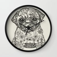 persian Wall Clocks featuring Persian Pug by Huebucket