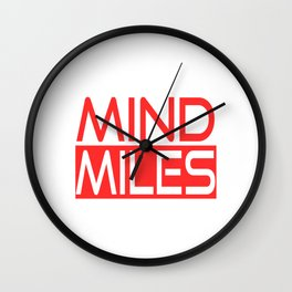 """A Nice Running Tee For Runners Saying """"Mind Miles"""" T-shirt Design Exercise Meter Fit Healthy  Wall Clock"""
