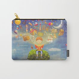 Little boy sitting on the tree and  reading a book, objects flying out Carry-All Pouch