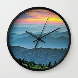 Mountain Range Sunset Wall Clock