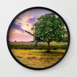 Green Tree and Sunset Sky Wall Clock