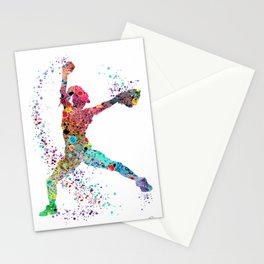 Baseball Softball Pitcher Watercolor Print Art Print Girl's Softball Painting Stationery Cards