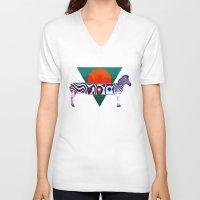 zebra V-neck T-shirts featuring Zebra by Ali GULEC