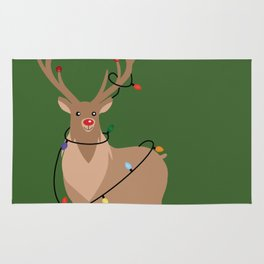 Rudolph Red Nosed Reindeer happy with his Favorite Christmas Lights Rug