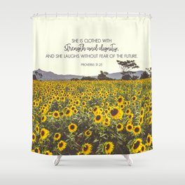 Proverbs and Sunflowers Shower Curtain