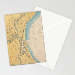 Vintage Map of Milwaukee WI (1947) Stationery Cards