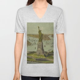 Currier & Ives. - Print c.1885 - Statue of Liberty 2 Unisex V-Neck
