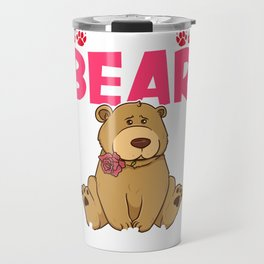 Cute & Funny I Can't Bear To Be Without You Pun Travel Mug