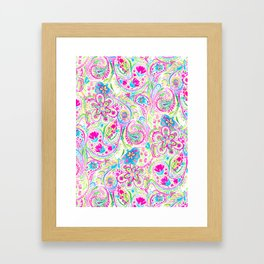 Paisley Watercolor Brights Framed Art Print