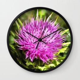Purple Thistle Wildflower Wall Clock