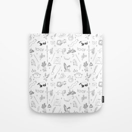 Magic School - sword, broom, houses, lion, badger, cauldron, witch, wizard, black and white, Tote Bag