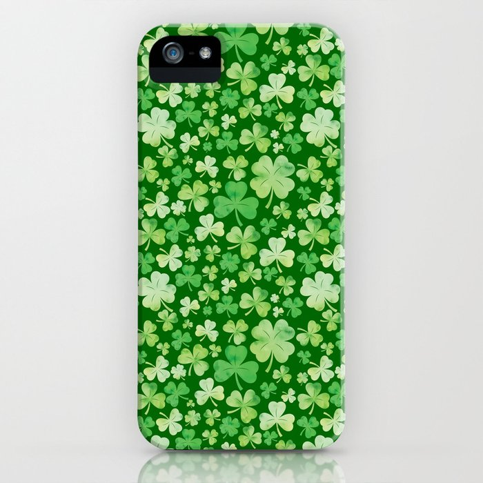 Lucky Green Watercolour Shamrock Pattern iPhone Case