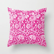 "William Morris Floral Pattern | ""Pink and Rose"" in Hot Pink and White Throw Pillow"