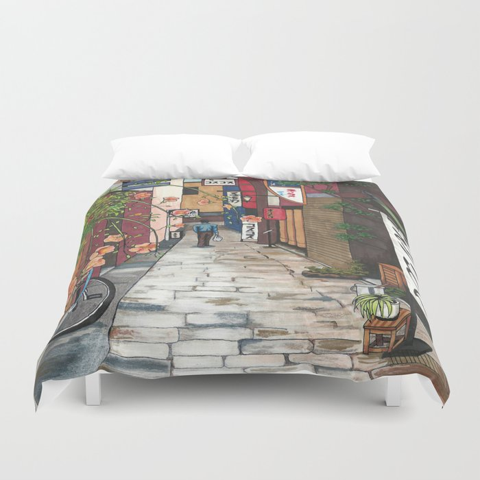 Flowers in an Alley Duvet Cover