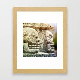 Mayan Stone Skulls Framed Art Print