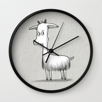 totes Wall Clocks featuring Totes MaGoats by Cassandra Berger