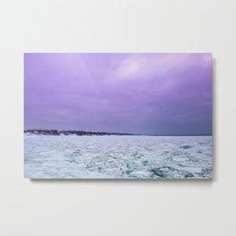 Ultraviolet sunset on the lake Metal Print
