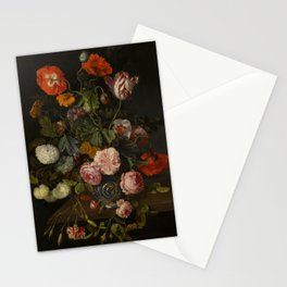 "Cornelis Kick ""A still life with parrot tulips, poppies, roses, snow balls, and other flowers"" Stationery Cards"