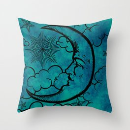 Moon vintage blue marine Throw Pillow