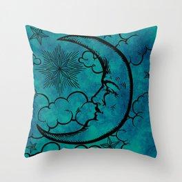 Moon vintage blue marine Throw Pillow