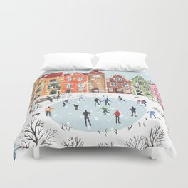 winter town Duvet Cover
