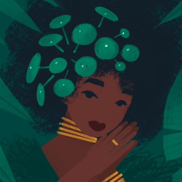 illustration of a woman with a pilea plant in her hair