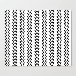 Linocut abstract minimal chevron pattern basic black and white decor Canvas Print
