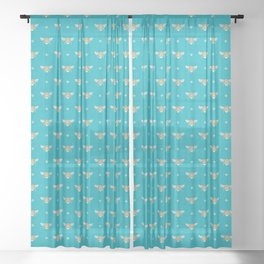 Bumblebee Stamp on Pool Blue Sheer Curtain