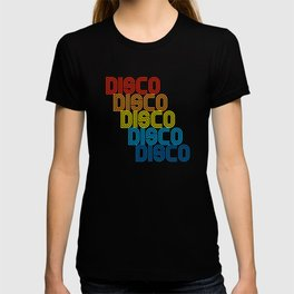 Disco Repeat Rainbow 1970s Disco Funk Vintage Retro Neon Light Funky T-shirt